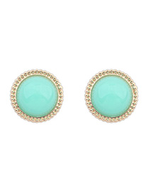 Patagonia Light Green Candy Color Round Shape Simple Design Alloy Stud Earrings