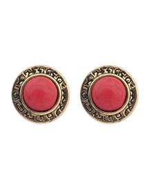 Health Red Gemstone Decorated Round Shape Design Alloy Stud Earrings