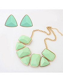 Jogging Light Green Geometrical Shape Decorated Simple Design Alloy Jewelry Sets