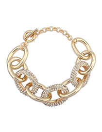 Celebrity Gold Color Diamond Decorated Chain Design Alloy Fashion Bracelets