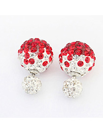 Upper Red Diamond Decorated Round Shape Design Alloy Stud Earrings