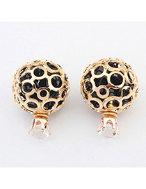 Beige Black Round Shape Decorated Hollow Out Design Alloy Korean Earrings