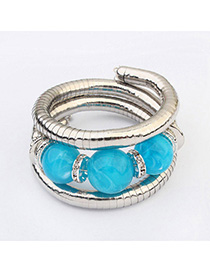 Maturnity Blue Diamond Decorated Multilayer Design Alloy Fashion Bangles