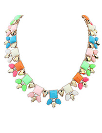 Sparrow Multicolor Gemstone Decorated Sqaure Shape Design Alloy Fashion Necklaces
