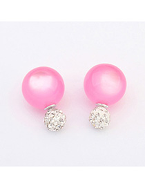 Splendid Plum Red Candy Color Round Shape Design Alloy Stud Earrings