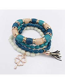 Corduroy Blue Clover Shape Decorated Multilayer Design Alloy Korean Fashion Bracelet