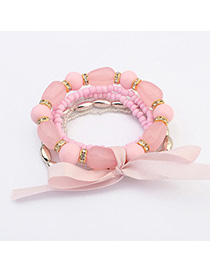 Quality Pink Beads Decorated Multilayer Design
