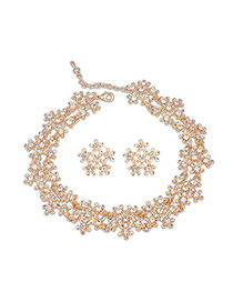 Pierced Gold Color Diamond Decorated Flower Design Alloy Jewelry Sets