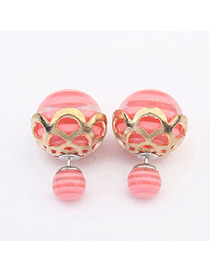Letterhead Pink Round Shape Decorated Hollow Out Design Alloy Stud Earrings
