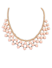 Heavy Pink Gemstone Decorated Geometrical Shape Design Alloy Bib Necklaces