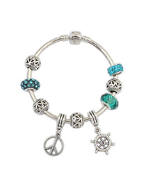 Autism Blue Diamond Decorated Rudder Pendant Design Alloy Fashion Bangles