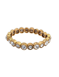 Bulk White Diamond Decorated Simple Design Alloy Korean Fashion Bracelet
