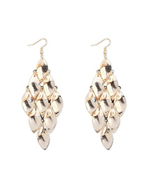 Synthetic Gold Color Leaf Shape Decorated Tassel Design Alloy Korean Earrings
