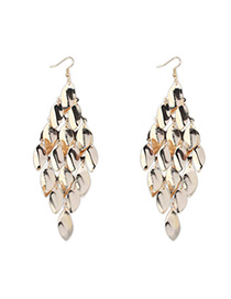 Classical Gold Color Leaf Shape Decorated Tassel Design Alloy Korean Earrings