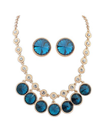 Fine Sapphire Blue Diamond Decorated Round Shape Design Alloy Jewelry Sets