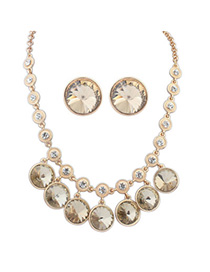 Skinny Gold Color Diamond Decorated Round Shape Design Alloy Jewelry Sets
