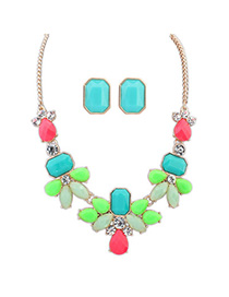 Pierced Multicolor Gemstone Decorated Waterdrop Shape Design Alloy Jewelry Sets