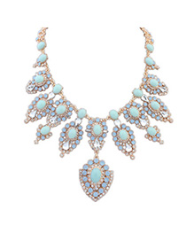 Gorgeous Light Blue Diamond Decorated Flower Design Alloy Bib Necklaces