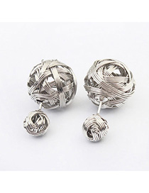 Chiropract Silver Color Metal Decorated Weave Design Alloy Stud Earrings
