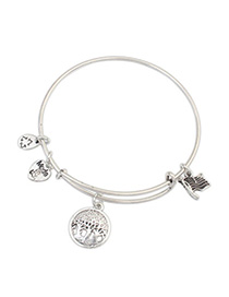 Engravable Silver Color Tree Pattern Decorated Simple Design Alloy Fashion Bangles