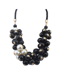 High Waist Black & White Pearl Decorated Simple Design Alloy Bib Necklaces