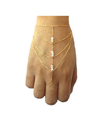 24K Gold Color Beads Decorated Multilayer Design