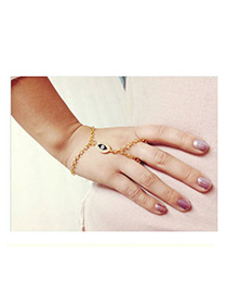 Adjustable Gold Color Diamond Decorated Eye Pattern Design Alloy Korean Fashion Bracelet