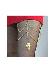 Vibrating Gold Color Hand Shape Decorated Simple Design Alloy Fashion Anklets