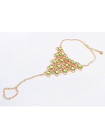 Smart Green Gemstone Decorated Triangle Shape Design Alloy Fashion Anklets