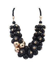 hyperbolic Black Pearl Decorated Simple Design Alloy Bib Necklaces