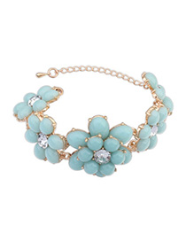 sweet Light Blue Gemstone Decorated Flower Design Alloy Korean Fashion Bracelet