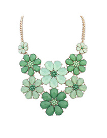parsimonious Green Gemstone Decorated Flower Design Alloy Bib Necklaces