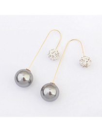 trendy Silver Color Diamond Decorated Round Shape Design Alloy Korean Earrings