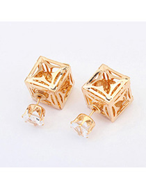 Korean Yellow Square Shape Decorated Hollow Out Design Alloy Stud Earrings