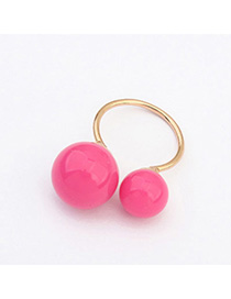 Korean Plum Red Round Ball Decorated Simple Design Alloy Korean Rings