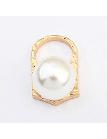 Punk Champagne Gold Pearl Decorated Simple Design Alloy Korean Rings