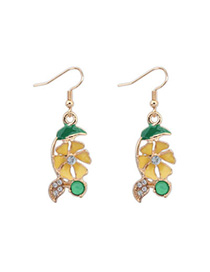 Trendy Yellow Flower Shape Decorated Simple Design Alloy Korean Earrings