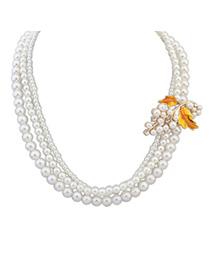 Elegant Yellow Pearl Decorated Multilayer Leaf Shape Design Alloy Korean Necklaces