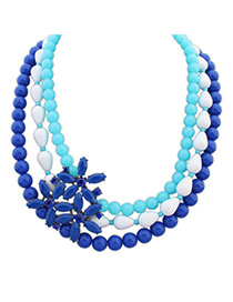 Occident Blue Gemstone Decorated Multilayer Flower Design Alloy Fashion Necklaces