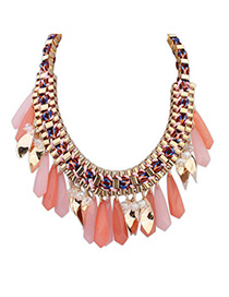 Trendy Light Pink Waterdrop Shape Decorated Weave Design Alloy Bib Necklaces