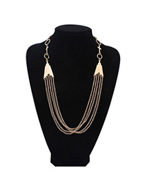 Preferential Gold Color Multilayer Simple Design Alloy Bib Necklaces