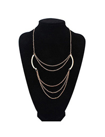 Popular Gold Color Multilayer Simple Design Alloy Bib Necklaces