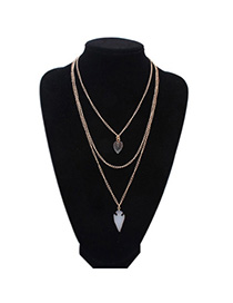 Pretty Gold Color Geometrical Shape Decorated Multilayer Design Alloy Chains