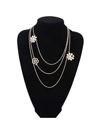Pretty Gold Color Flower Decorated Multilayer Design Alloy Chains