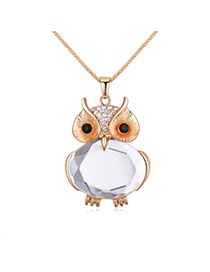 Trendy White Owl Shape Decorated Simple Design Alloy Chains