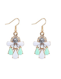 Fashion Green Gemstone Decorated Waterdrop Shape Design Alloy Korean Earrings