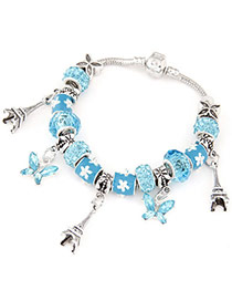 Costume Blue Beads Decorated Eiffel Tower & Butterfly Shape Design