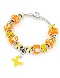 Gorgeous Orange Diamond Decorated Butterfly Shape Design Alloy Fashion Bracelets