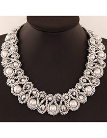 Luxurious White & Silver Color Beads Decorated Weave Design