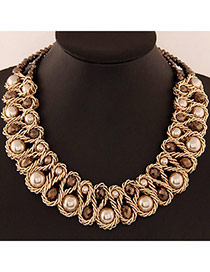 Luxurious Champagne Gold Beads Decorated Weave Design Alloy Fashion Necklaces